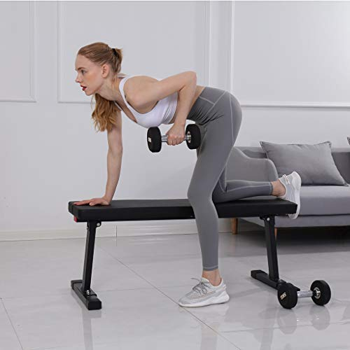 Nesee Flat Bench Workout Bench Flat Utility Weight Bench Weight 600lb Rated Capacity for Weight Training Sit Up Bench Strength Training and Abs Exercises with Handle /& Wheels(Ship from US)