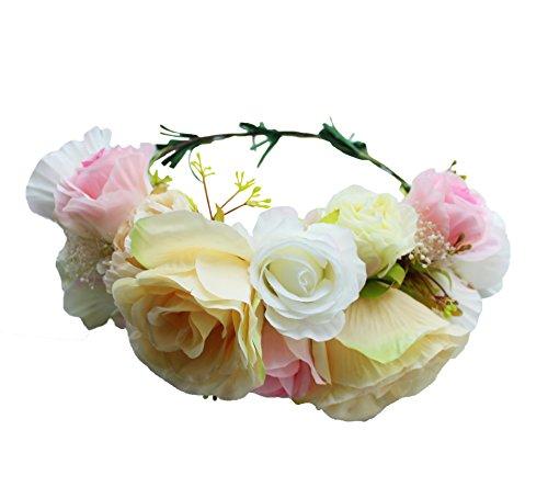 Vivivalue Floral Garland Crown Boho Flower Headband Hair Wreath Floral Headpiece Halo with Ribbon Wedding Party Festival Photos Yellow