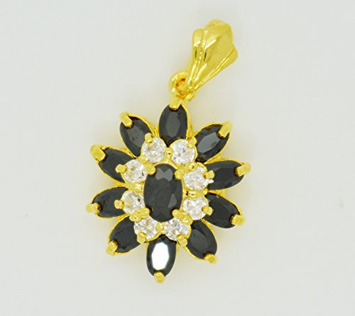 22k Yellow Gold Plated Cubic Zirconia CZ Black Spinel AAA Flower Thai Pendant Choker Jewelry Beads Charm 20 mm