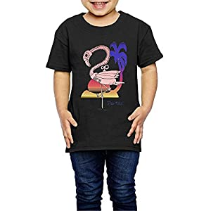 Aiguan Steampunk Flamingo Toddler Short Sleeve T-Shirt Cozy Top for Little Boy & Girl Black
