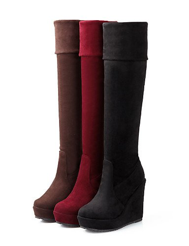 Cn34 Plataforma Brown La Red Botas us5 Punta Eu35 De A Rojo Uk3 Moda us8 Casual Redonda Uk6 Eu39 Cn39 Zapatos Xzz Negro Vellón Marrón Mujer wfZSx