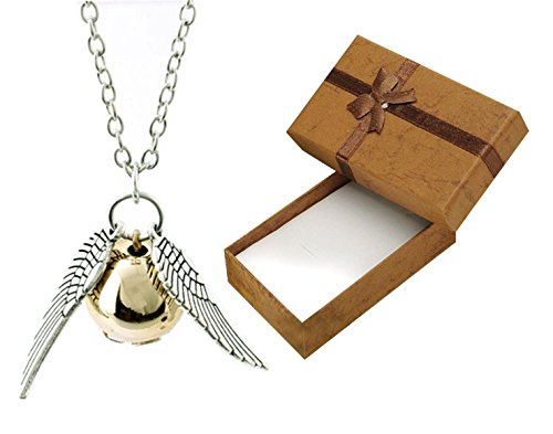 Harry Potter Golden Snitch Fashion Necklace with Gift Box Included Flying Quidditch Angel Wings Ball (Harry Potter Jewelry Necklace)