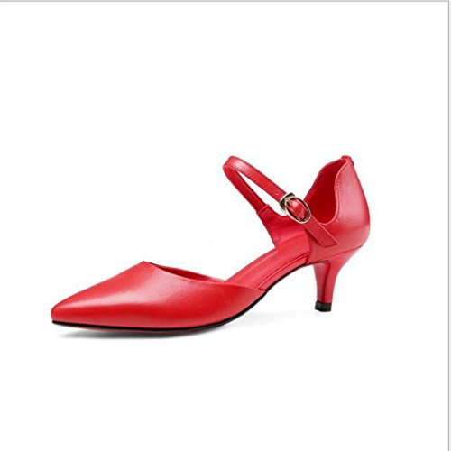 W&LM Cuero de mujer Baotou sandalias propina hebilla En el talón zapato Sandalias de boca superficial Red