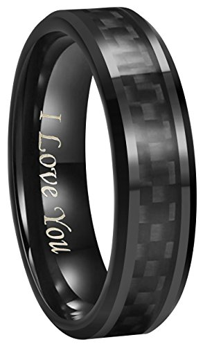 (6mm 8mm 10mm Black Carbon Fiber Black Tungsten Carbide Wedding Band Ring Engraved