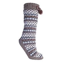 Altos Fuzzy Slipper Sock Non-Skid w Pom Pom Tan-X-Small