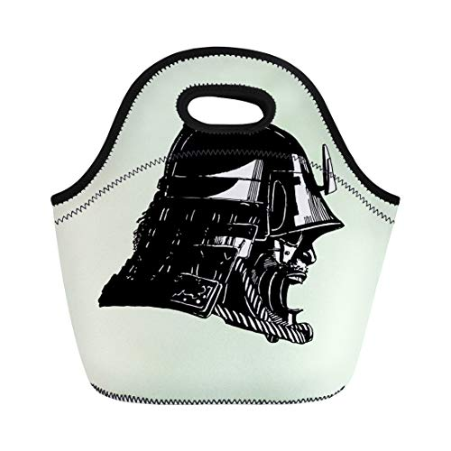 Semtomn Lunch Bags Armour Warrior Samurai Mask Black and White Armor Asia Neoprene Lunch Bag Lunchbox Tote Bag Portable Picnic Bag Cooler Bag