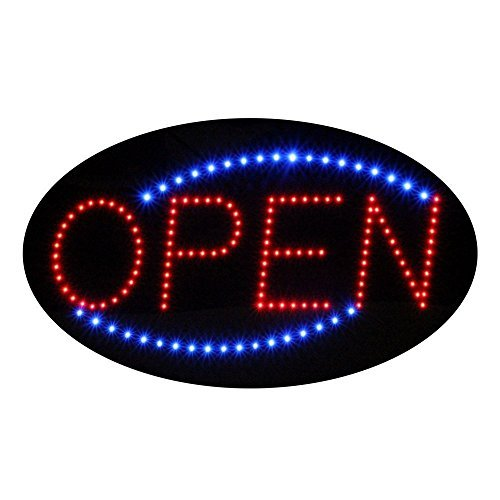 Oval Shaped LED Sign Reads OPEN with Animation and Power (On & Off) Two Switches for Business (Blue)