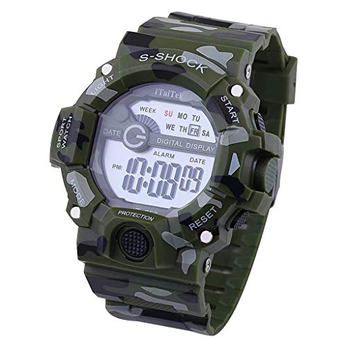 Waterproof Sports Watch for Men,Futemo Digital Electronic Camo Multifunction Chronograph Gift Watch Under 20 Dollars