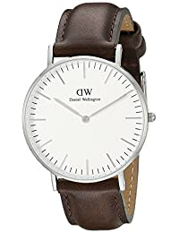Daniel Wellington Men's 0209DW Bristol Stainless Steel Watch with Brown Leather Band