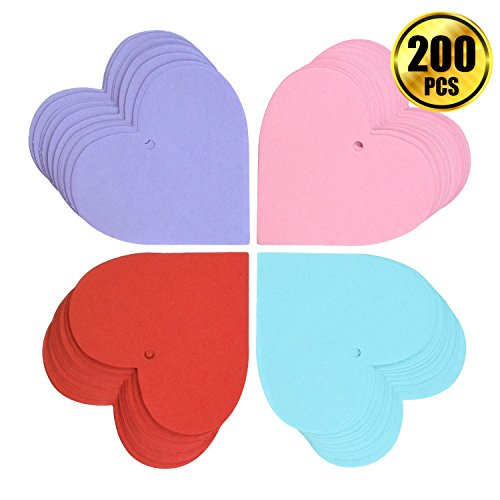 WXJ13 200 Pieces 2.75 Inch Heart Shape Paper Cutouts Valentine Heart Confetti Thin Blank Paper Tags for Valentine