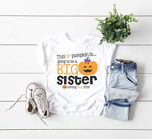 Personalized Big Sister Shirt, Personalized Halloween Pregnancy Announcement Shirt For Big Sister -