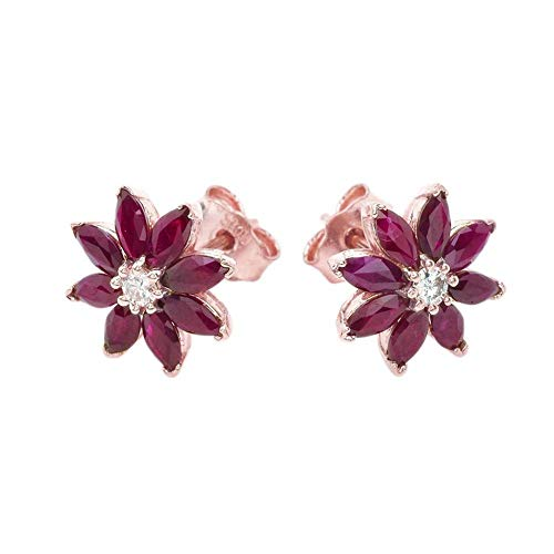 Exotic 14k Rose Gold Daisy Diamond and Genuine Ruby Flower Stud Earrings