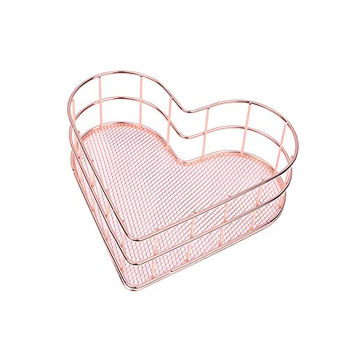 Gold Heart Wire (X Hot Popcorn Metal Wire Mesh Basket Organizer Love Heart Shape Desk Storage Set for Office Bathroom Bedroom Essential Oil Storage Makeup Brushes Organizer Medium(Rose Gold))