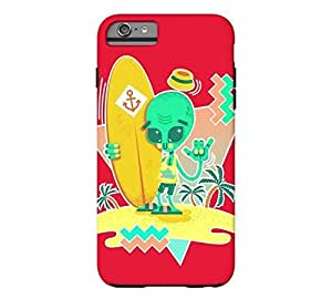 Alien Surfer Nineties Pattern iPhone 6 Plus Cadmium red Tough Phone Case