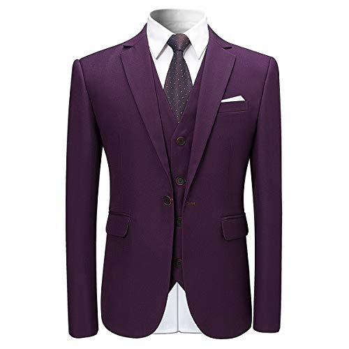 Veste Costard Mariage Smoking Costume Blazer Et Homme Violet 3 Gilet Pcs Party Pantalon mwvnN08