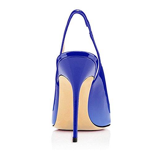 Talon Bleu Haute Aiguille Talons 12CM avec Chaussures Femmes uBeauty Escarpins multicolore Femme Chaussures Taille Stilettos Grande wqS6IwxU