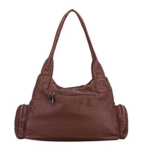Bag Brown Handbag Hobo Washed Shoulder Crossbody Leather Bag Women Soft Purse for Classic Khaki O0qzS