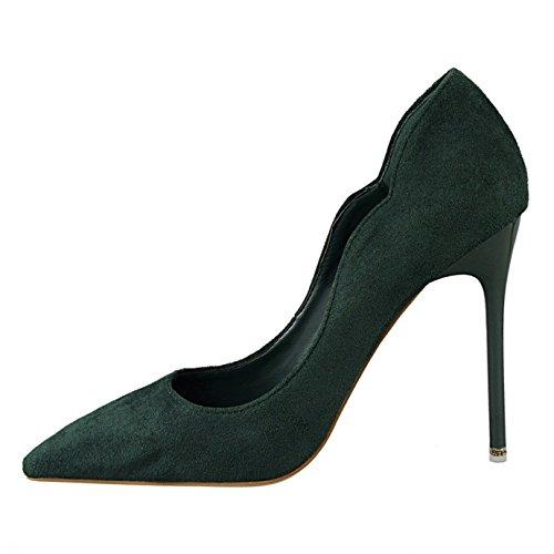 Aiguille Mariage Pointu Soirée OL OALEEN Daim Effet Bout Haut Talon Vert Elégant Chaussures Femme Escarpins qnAazwOH
