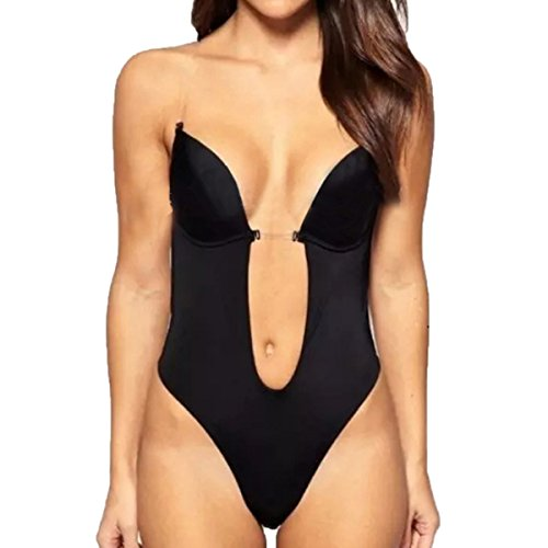 Shymay Women's Deep V Bodysuit Thong Bottom Backless Seamless U Plunge Body Suit, Black, Tag Size 32=US Size 34C