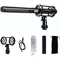 Professional Video Condenser Shotgun Microphone with Foam Windscreen & Shock Mount for DSLR Camera Canon EOS DSLR 5D Mark II III 6D 7D 70D 60D T6s T7i T6i T5i T4i T3i Nikon Sony Camcorder