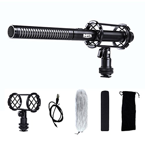 BOYA BY-PVM1000 Pro Broadcast-Quality Interview Shotgun Microphone with Foam Windscreen & Shock Mount & Cleaning Cloth 3 Pin XLR Output for Canon 6D Nikon D800 Sony Panasonic Camcorders by BOYA
