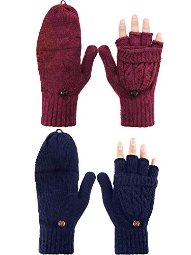 Convertible Wool Gloves - Tatuo 2 Pairs Women Fingerless Mittens Winter Convertible Gloves Knitted Half Finger Gloves with Cover (Dark Red and Navy Blue)