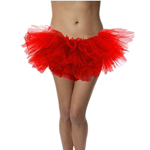 DreamHigh Sexy Adult Womens Classic 5 Layered Tulle Fancy Ballet Dress Tutu Skirts Red -