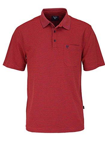 HAJO Poloshirt Halbarm mit Brusttasche Ringel mittelrot