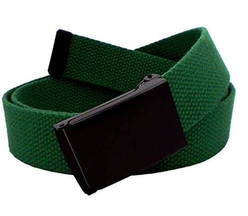 Men's Black Flip Top Military Belt Buckle with Canvas Web Belt Large Hunter Green