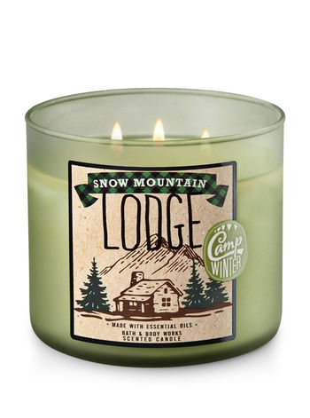 Bath and Body Works White Barn 2017 Snow Mountain Lodge 3 Wick Candle 14.5 Ounce Made With Essential Oils