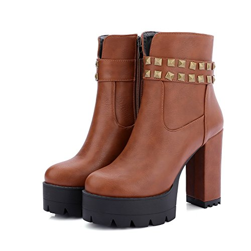 Women High Agoolar Stivali bassa e borchie Heel cerniera marrone Cane con con rivetti n0OPwk