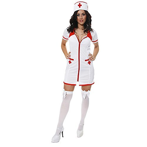 Ladies Sexy Nurse Doctor Occupation Halloween Fancy Dress Costume Outfit UK 8-12 ()