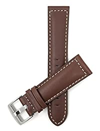 Extra Long (XL), 20mm Light Brown Gen. Leather Watch Bor Strap, Mat, White Stitching, Black, Tan or Brown