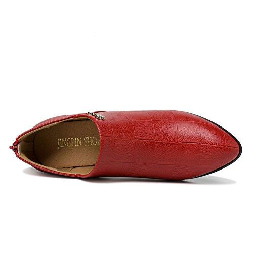 CM à de Confortable Haute 6 Rouge Talon 5 Compensées Femme Mocassins Chaussure Cuir Escarpins Enfiler 40 JRenok 35 Mode wARnqZ1q