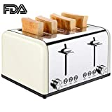 Cheap 4 Slice Toaster, CUSIBOX Extra Wide Slots Toaster with BAGEL/DEFROST/CANCEL Function, Stainless Steel Four Slice Bread Bagel Toaster, 1650W, Cream