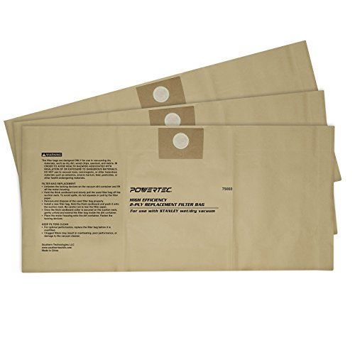 POWERTEC 75003 4-5 Gallon Disposable Filter Bags for Wet/Dry Vacuums | High Efficiency Replacement Filters for Stanley (25-1230) - 3 Pack