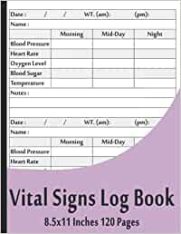 Vital Signs Log Book: Vital Signs Log Book For Nurses, Complete Health Monitoring Record Log for Blood Pressure, Blood Sugar Tracker, Heart Pulse Rate Recorder, 8.5
