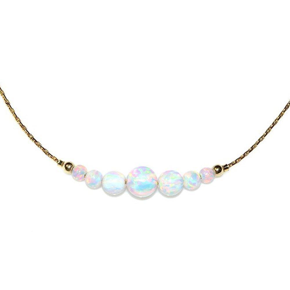 Elegant White Opal Bar Necklace Gold, Opal Necklace, Tiny Opal Necklace