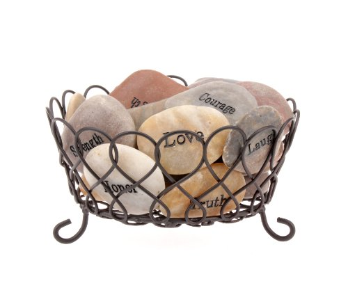 Stonebriar Inspirational Natural Polished River Stones with Decorative Basket, Unique and Thoughtful Gift Ideas for Friends and Family, Decorative 25 Piece Set