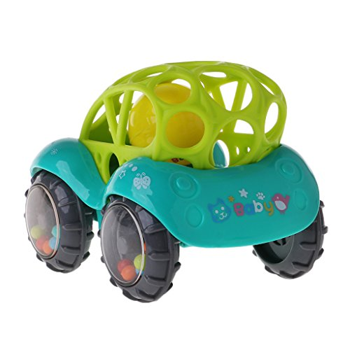 JAGENIE Baby Infant Rattle Roll Car Toy Soft Flexible Sounds Perfect Teething Kids Play Green