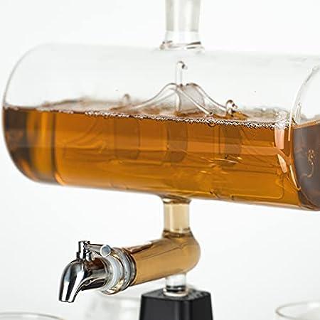 Whisiskey® Jarra Whisky – Velero – 1000 ml – Con 4 Piedras Whisky, 4 Vasos Cristal y Pitorro – Regalos Originales para Hombre – Whiskey Garrafa