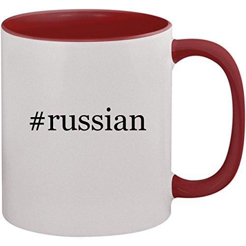 #russian - 11oz Ceramic Colored Inside and Handle Coffee Mug Cup, Maroon