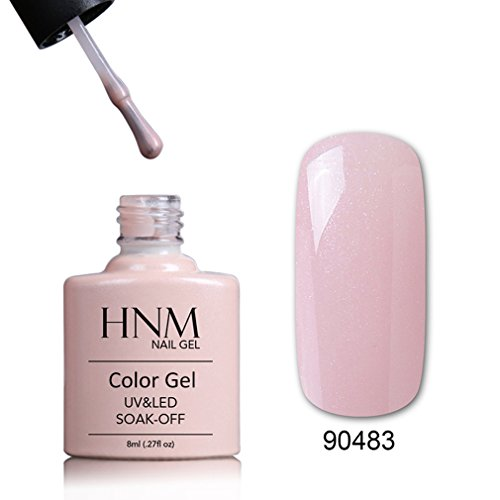 HNM Gel Nail Polish, Soak Off UV LED Gel Polish Nail Art Lacquer Varnish Manicure Nail Art Manicure Bare Chemise (90483) (Shellac Bare Chemise)