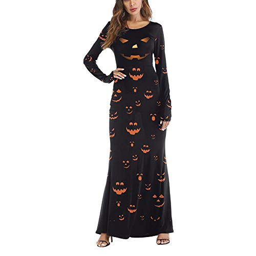 (Womens Halloween Print Long Sleeves Round Neck Evening Party Tea Cocktail A Line Swing Dress Maxi)