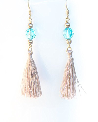 Swarovski Green Earring - Tassel Earrings with Blue Green Crystals by Swarovski and Gold Filled Earwires