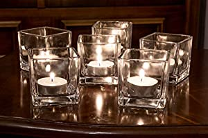 A2S Scented Votive Candles Set of 18 Set of 6 Glass Candle Holders Square