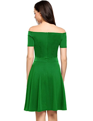 bb35cc7cefed ... Meaneor Damen Schulterfreies Kleid Partykleid Festliches Kleid  Sommerkleider Swing Knielang Grün udXhr ...