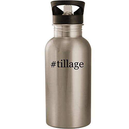 #tillage - Stainless Steel Hashtag 20oz Road Ready Water Bottle, Silver