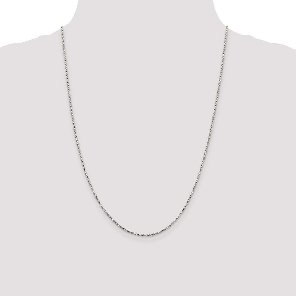 925 Sterling Silver 1.35mm Twisted Box Chain Necklace 20 Length