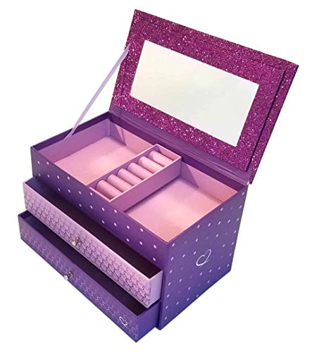 Jewelry Box for Girls - Pink and Purple Sparkles with Hearts and Pink and Purple Trim (Purple Sparkle) (Hearts Pink Purple)